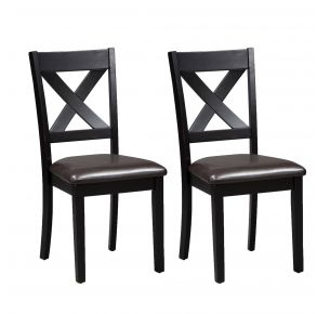 Liberty Furniture Industries, Inc. Thornton II X Back Side Chair - Set of 2 - Black Pair Front View