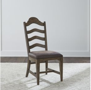 Liberty Furniture Industries, Inc. Homestead Ladder Back Side Chair - RTA - Set of 2 - Dark Brown Front View