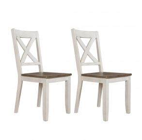 Liberty Furniture Industries, Inc. Lakeshore X Back Side Chair - RTA - Set of 2 - White Pair Front View