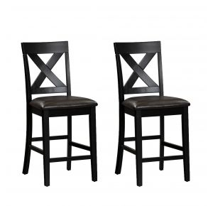 Liberty Furniture Industries, Inc. Thornton II X Back Counter Chair - Set of 2 - Black Pair Front View