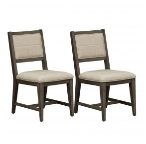 Liberty Furniture Industries, Inc. Crescent Creek Upholstered Side Chair - RTA - Set of 2 - Dark Gray Pair Front View