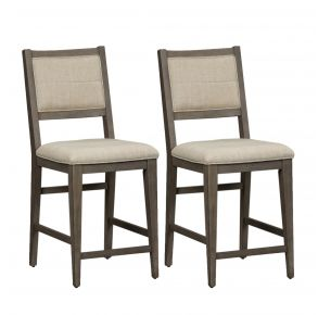 Liberty Furniture Industries, Inc. Crescent Creek Upholstered Counter Height Chair - RTA - Set of 2 - Dark Gray Pair Front View