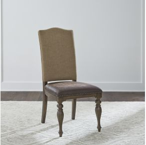 Liberty Furniture Industries, Inc. Homestead Upholstered Side Chair - RTA - Set of 2 - Dark Brown Front View