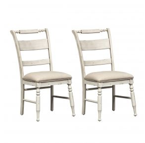 Liberty Furniture Industries, Inc. Whitney Slat Back Side Chair - RTA - Set of 2 - White Pair Front View