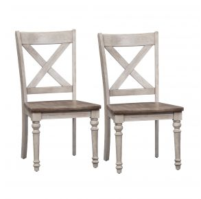 Liberty Furniture Industries, Inc. Cottage Lane X Back Wood Seat Side Chair - RTA - Set of 2 - White Pair Front View