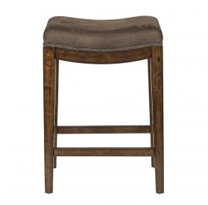 Liberty Furniture Industries, Inc. Aspen Skies Upholstered Console Stool - Medium Brown Front View