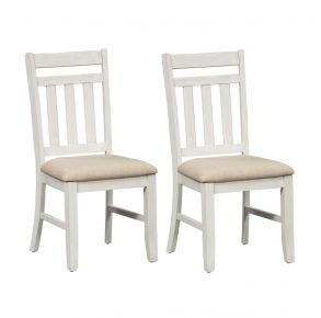 Liberty Furniture Industries, Inc. Summerville Slat Back Side Chair - RTA - Set of 2 - White Pair Front View