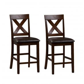 Liberty Furniture Industries, Inc. Thornton X Back Counter Chair - Set of 2 - Medium Brown Pair Front View