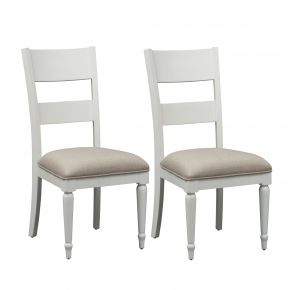 Liberty Furniture Industries, Inc. Harbor View II Slat Back Side Chair - RTA - Set of 2 - White Pair Front View