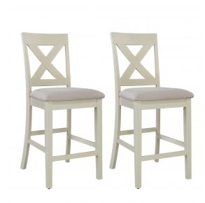 Liberty Furniture Industries, Inc. Thornton X Back Counter Chair - Set of 2 - White Pair Front View