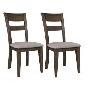 Liberty Furniture Industries, Inc. Double Bridge Splat Back Side Chair - RTA - Set of 2 - Dark Brown Pair Front View