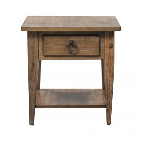 Liberty Furniture Industries, Inc. Verona Valley 1 Drawer End Table - Light Brown Front View