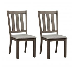 Liberty Furniture Industries, Inc. Tanners Creek Slat Back Side Chair - RTA - Set of 2 - Medium Gray Pair Front View