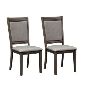 Liberty Furniture Industries, Inc. Tanners Creek Upholstered Side Chair - RTA - Set of 2 - Medium Gray Pair Front View