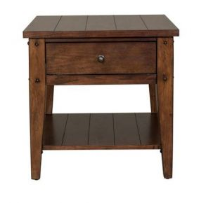 Liberty Furniture Industries, Inc. Lake House End Table - Dark Brown Front View