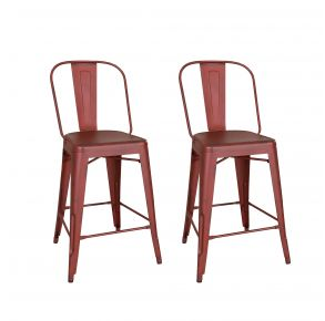 Liberty Furniture Industries, Inc. Vintage Series Bow Back Counter Chair - Metal - RTA - Set of 2 - Red Pair Front View