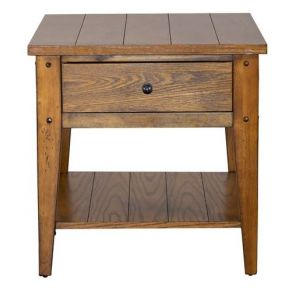 Liberty Furniture Industries, Inc. Lake House End Table - Medium Brown Front View