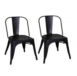 Liberty Furniture Industries, Inc. Vintage Series Bow Back Side Chair - Metal - Set of 2 - Black Pair Front View