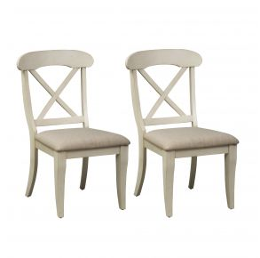 Liberty Furniture Industries, Inc. Ocean Isle Upholstered X Back Side Chair - RTA - Set of 2 - White Pair Front View