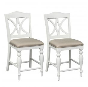 Liberty Furniture Industries, Inc. Summer House Slat Back Counter Chair - RTA - Set of 2 - White Pair Front View