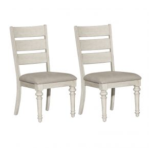 Liberty Furniture Industries, Inc. Heartland Ladder Back Side Chair - RTA - Set of 2 - White Pair Front View