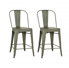 Liberty Furniture Industries, Inc. Vintage Series Bow Back Counter Chair - Metal - RTA - Set of 2 - Green Pair Front View