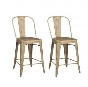 Liberty Furniture Industries, Inc. Vintage Series Bow Back Counter Chair - Metal - RTA - Set of 2 - Vintage Cream Pair Front View