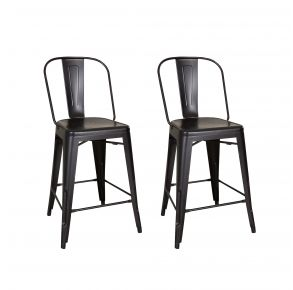 Liberty Furniture Industries, Inc. Vintage Series Bow Back Counter Chair - Metal - RTA - Set of 2 - Black Pair Front View