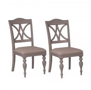 Liberty Furniture Industries, Inc. Summer House Slat Back Side Chair - RTA - Set of 2 - Light Gray Pair Front View