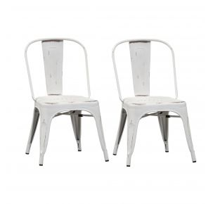 Liberty Furniture Industries, Inc. Vintage Series Bow Back Side Chair - Metal - Set of 2 - Antique White Pair Front View