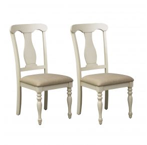 Liberty Furniture Industries, Inc. Ocean Isle Upholstered Splat Back Side Chair - RTA - Set of 2 - White Pair Front View