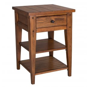 Liberty Furniture Industries, Inc. Lake House Chair Side Table - Medium Brown Front Angle View