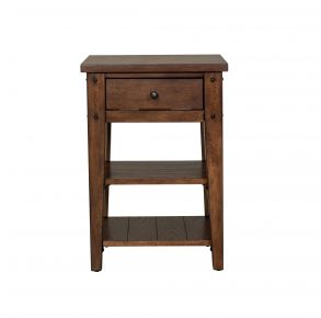 Liberty Furniture Industries, Inc. Lake House Chair Side Table - Dark Brown Front View
