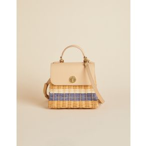 Spartina 449 Rattan Top Handle Crossbody Handbag - Oyster Alley Front View