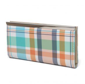 Mundi Slim Clutch - Plaid Front View