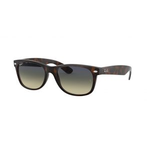 Ray-Ban New Wayfarer Classic Polarized Sunglasses- Matte Havana / Green Gradient Blue Front Angle View