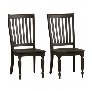 Liberty Furniture Industries, Inc. Harvest Home Slat Back Side Chair - RTA - Set of 2 - Black Pair Front View