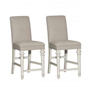 Liberty Furniture Industries, Inc. Heartland Upholstered Counter Height Chair - RTA - Set of 2 - White Pair Front View