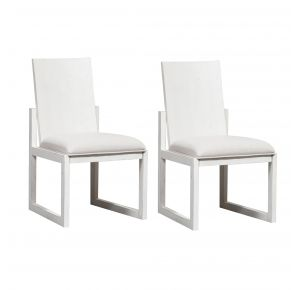 Liberty Furniture Industries, Inc. Modern Farmhouse Panel Back Side Chair - RTA - Set of 2 - White Pair Front View