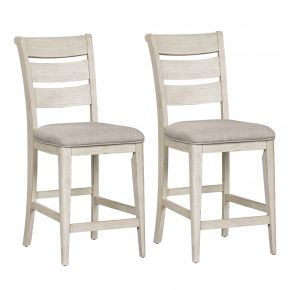 Liberty Furniture Industries, Inc. Farmhouse Reimagined Ladder Back Upholstered Counter Chair - RTA - Set of 2 - White Pair Front View