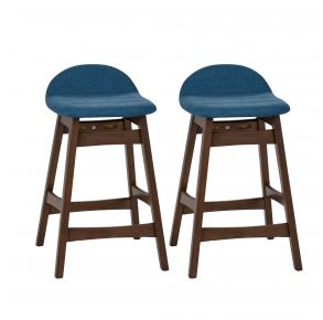 """Liberty Furniture Industries, Inc. Space Savers 24"""" Counter Chair - RTA - Set of 2 - Blue Pair Front View"""
