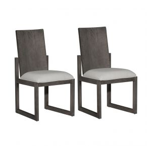 Liberty Furniture Industries, Inc. Modern Farmhouse Panel Back Side Chair - RTA - Set of 2 - Dark Gray Pair Front View