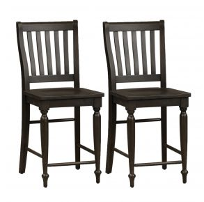 Liberty Furniture Industries, Inc. Harvest Home Slat Back Counter Chair - RTA - Set of 2 - Black Pair Front View