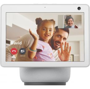 Amazon - Echo Show 10 (3rd Gen) HD Smart Display with Motion and Alexa - Glacier White Front View