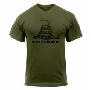 Rothco Mens Don't Tread On Me Short Sleeve T-Shirt - Olive Drab - Size 2XL Front View