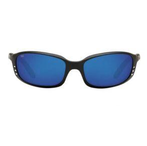 Costa Del Mar Mens Brine Matte Black Frame - Blue Mirror Glass Lens - Polarized Sunglasses Front View