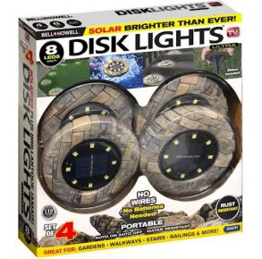 Bell + Howell Solar Disk Lights - Brown - 4 Pack Front of Package View