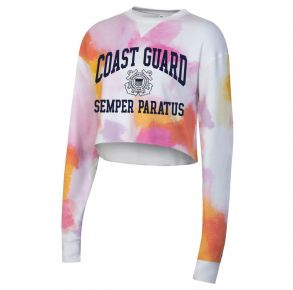 Coast Guard Champion Womens Watercolor Cloud Cropped Crew Fleece Front View