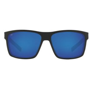 Costa Del Mar Slack Tide Shiny Black Frame - Blue Mirror 580 Glass Lens - Polarized Sunglasses Front View
