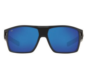 Costa Del Mar Diego Matte Black Frame - Blue Mirror 580 Glass Lens - Polarized Sunglasses Front View